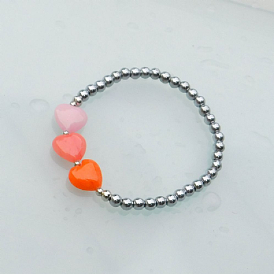 Orange, coral and pink hearts bracelet
