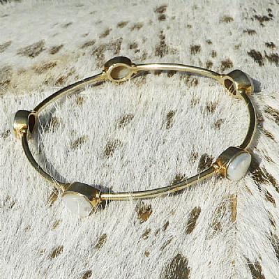 Brass and freshwater pearl bangle