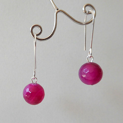 Agate faceted drops - cherry