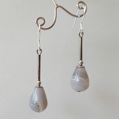 Agate long teardrops - grey
