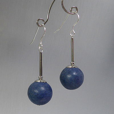 Blue magnesite long drop earrings