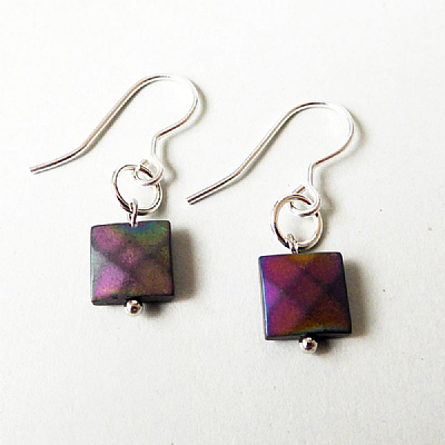 Faceted square hematite short drops