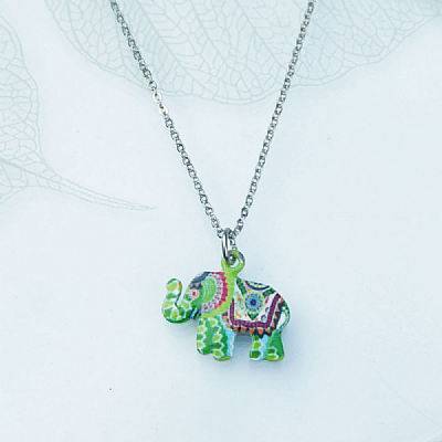 Enamel elephant on chain
