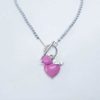 Pink fossil charms necklace