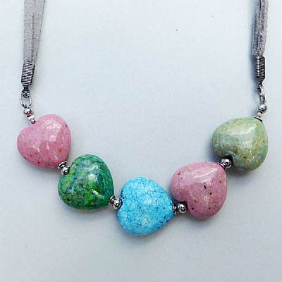 Fossil hearts crescent, blue pink green