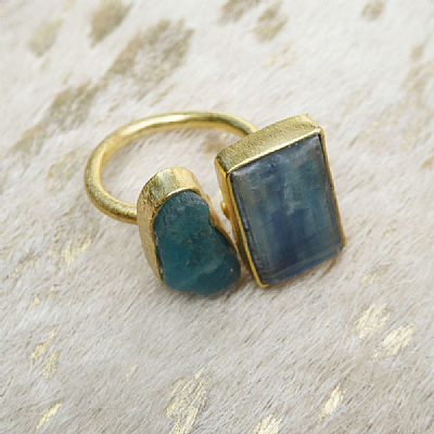 Kyanite gold plated ring