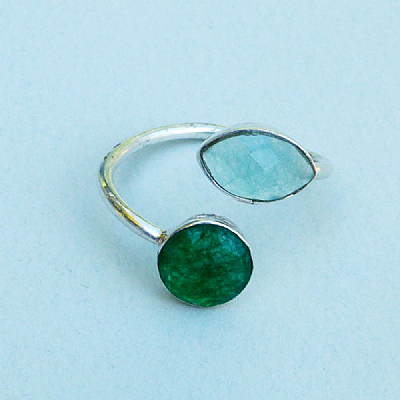 Silver and inset stones - green and aqua elipse