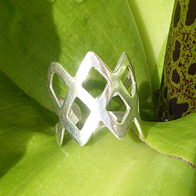 Sterling silver lattice ring
