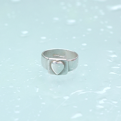 Sterling silver heart block ring