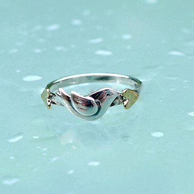 Silver and brass bird ring